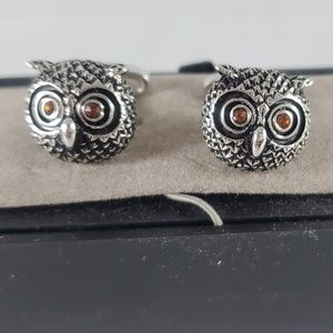Jos. A Bank Owl silver tone cuff links
